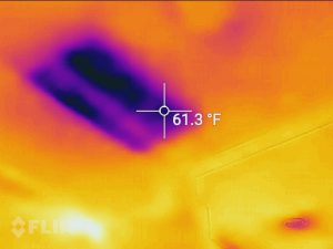 Infrared shot of a ceiling repair job.